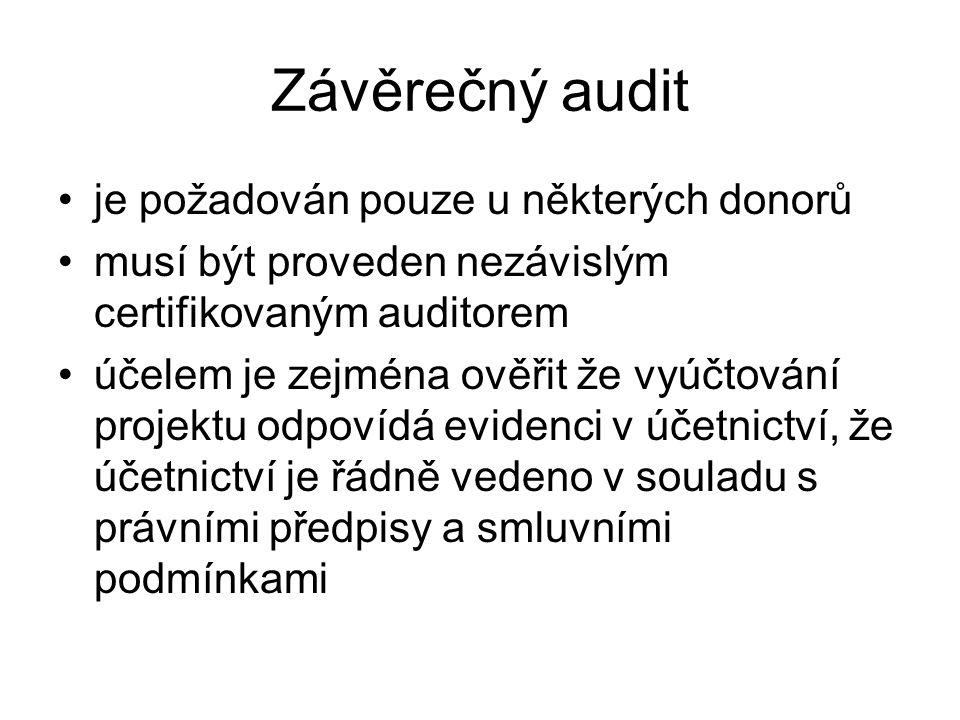 Závěrečný audit je požadován pouze u některých donorů