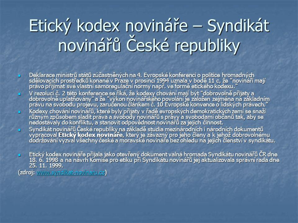 Etický kodex novináře – Syndikát novinářů České republiky