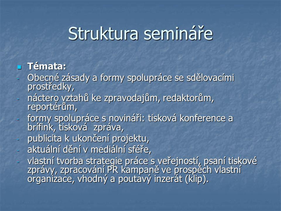 Struktura semináře Témata: