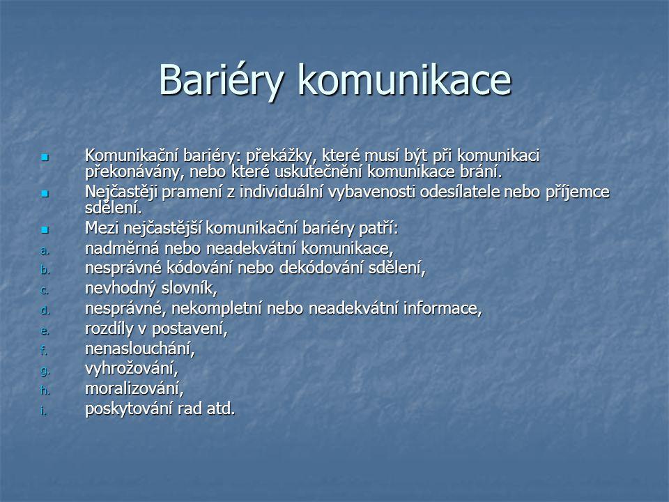 Bariéry komunikace Komunikační bariéry: překážky, které musí být při komunikaci překonávány, nebo které uskutečnění komunikace brání.