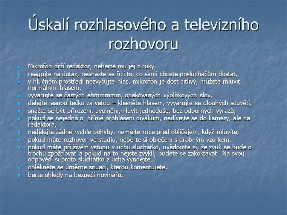 Úskalí rozhlasového a televizního rozhovoru