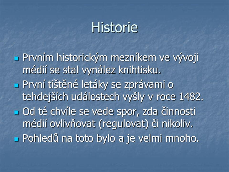 Historie Prvním historickým mezníkem ve vývoji médií se stal vynález knihtisku.