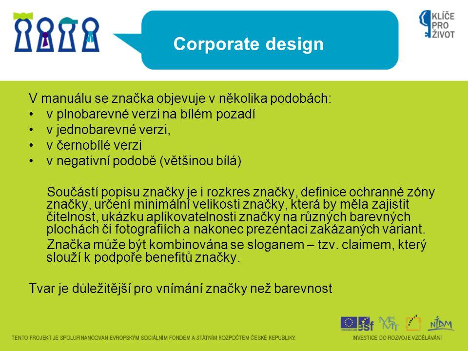 Corporate design V manuálu se značka objevuje v několika podobách: