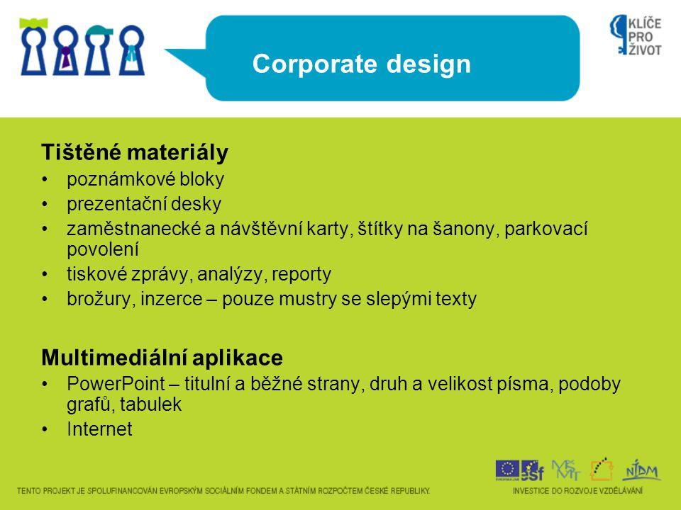 Corporate design Tištěné materiály Multimediální aplikace