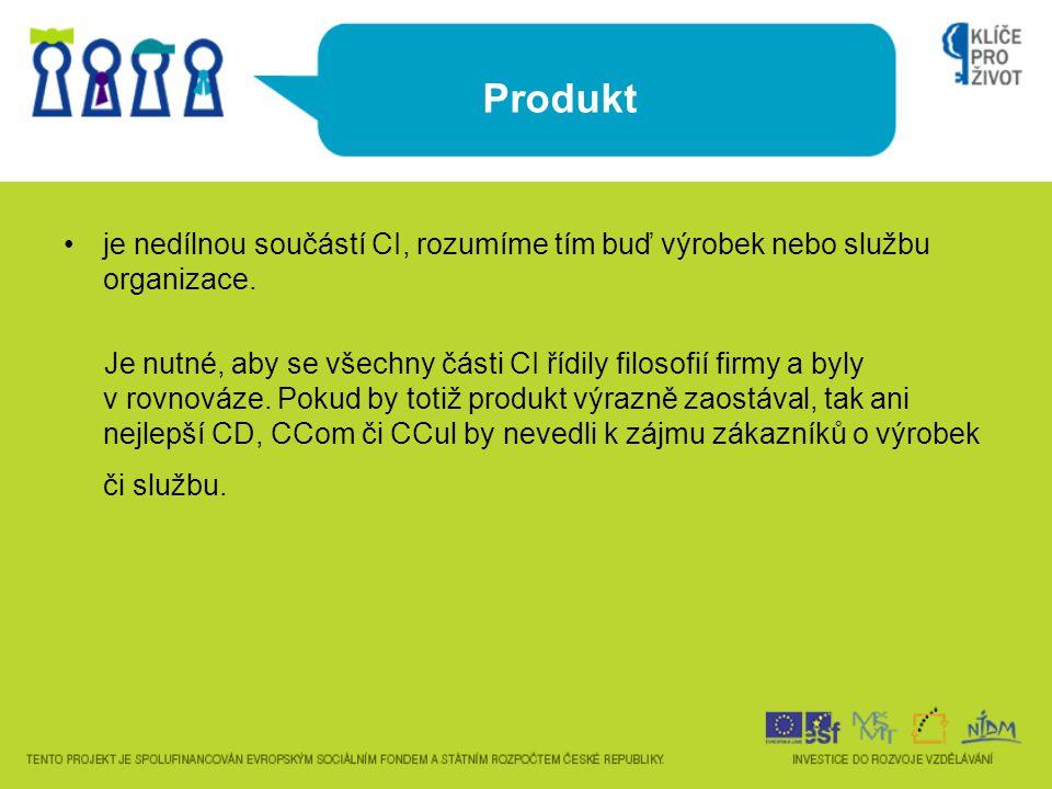 Produkt je nedílnou součástí CI, rozumíme tím buď výrobek nebo službu organizace.