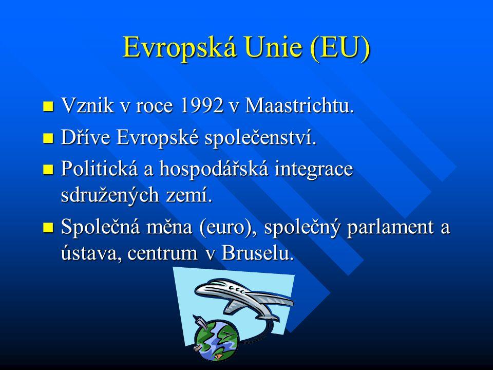 Evropská Unie (EU) Vznik v roce 1992 v Maastrichtu.