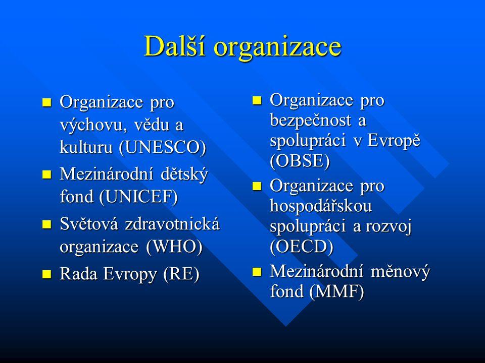 Další organizace Organizace pro výchovu, vědu a kulturu (UNESCO)