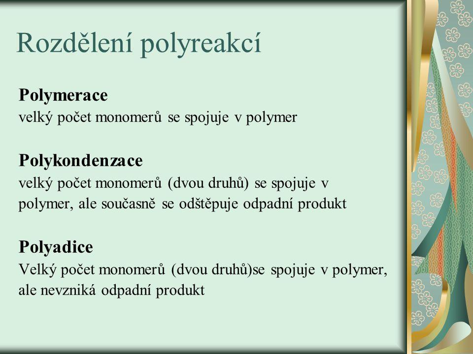 Rozdělení polyreakcí Polymerace Polykondenzace Polyadice