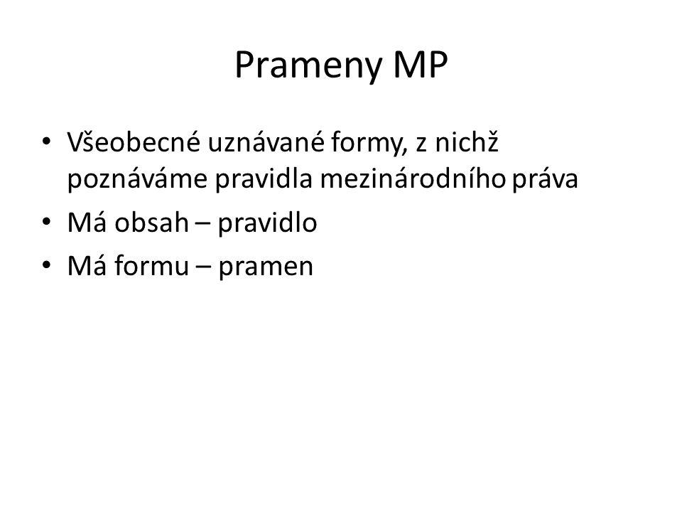Prameny MP Všeobecné uznávané formy, z nichž poznáváme pravidla mezinárodního práva. Má obsah – pravidlo.