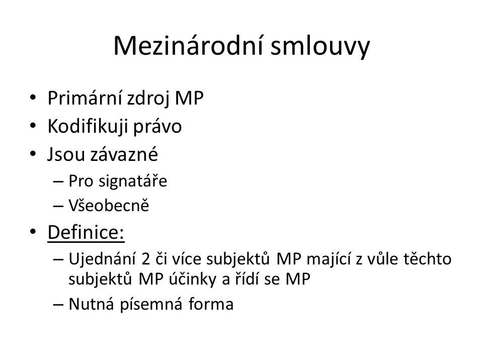 Mezinárodní smlouvy Primární zdroj MP Kodifikuji právo Jsou závazné