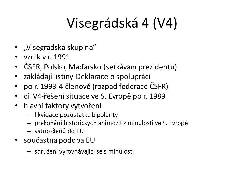 """Visegrádská 4 (V4) """"Visegrádská skupina vznik v r. 1991"""