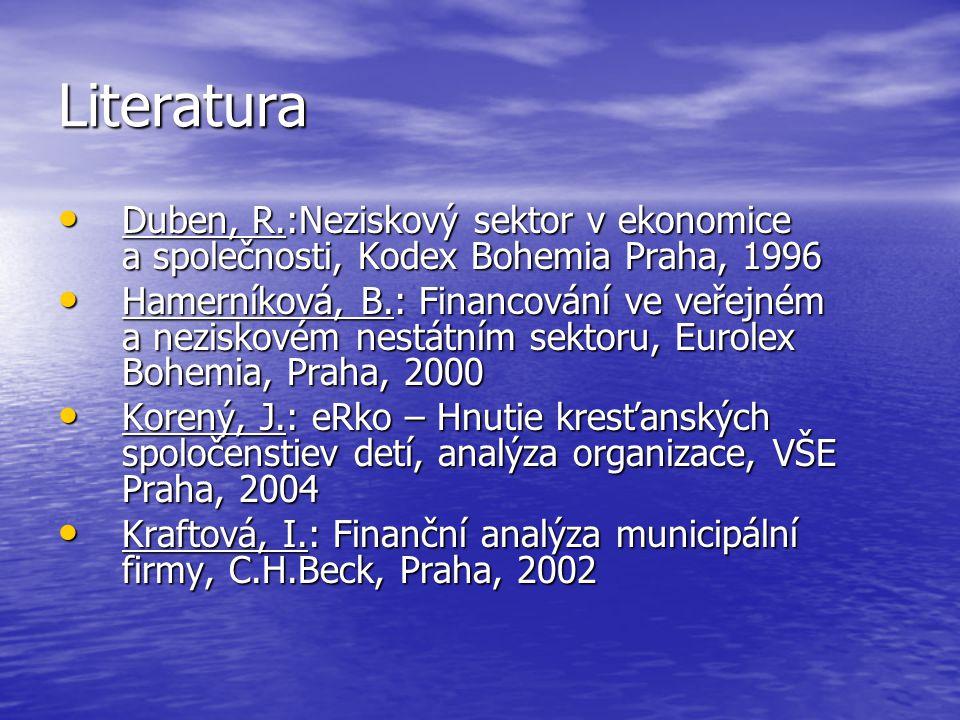 Literatura Duben, R.:Neziskový sektor v ekonomice a společnosti, Kodex Bohemia Praha, 1996.