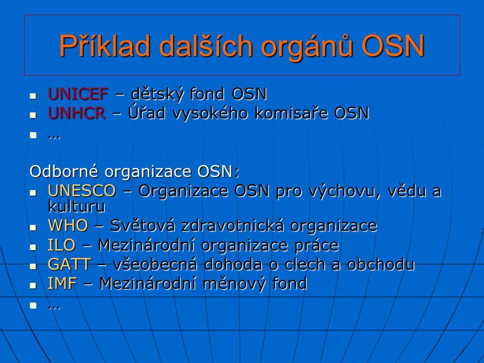 Příklad dalších orgánů OSN