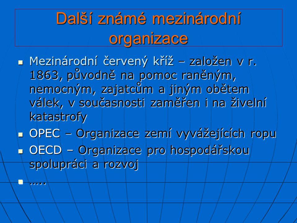 Další známé mezinárodní organizace