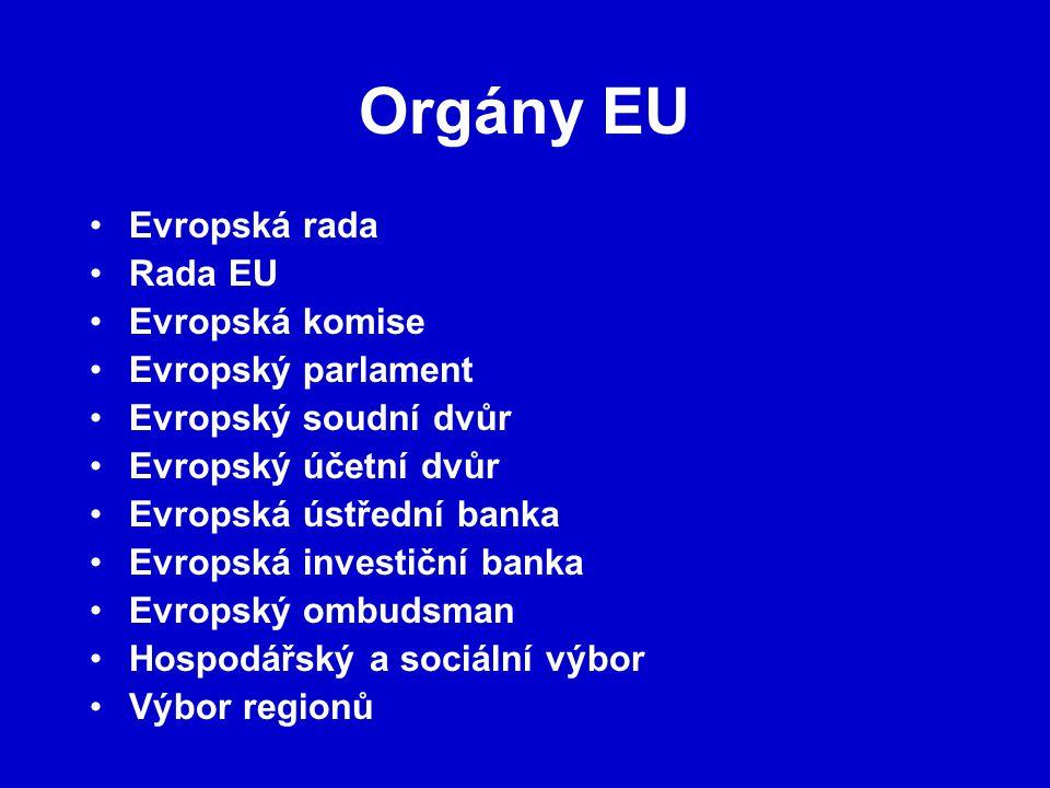 Orgány EU Evropská rada Rada EU Evropská komise Evropský parlament