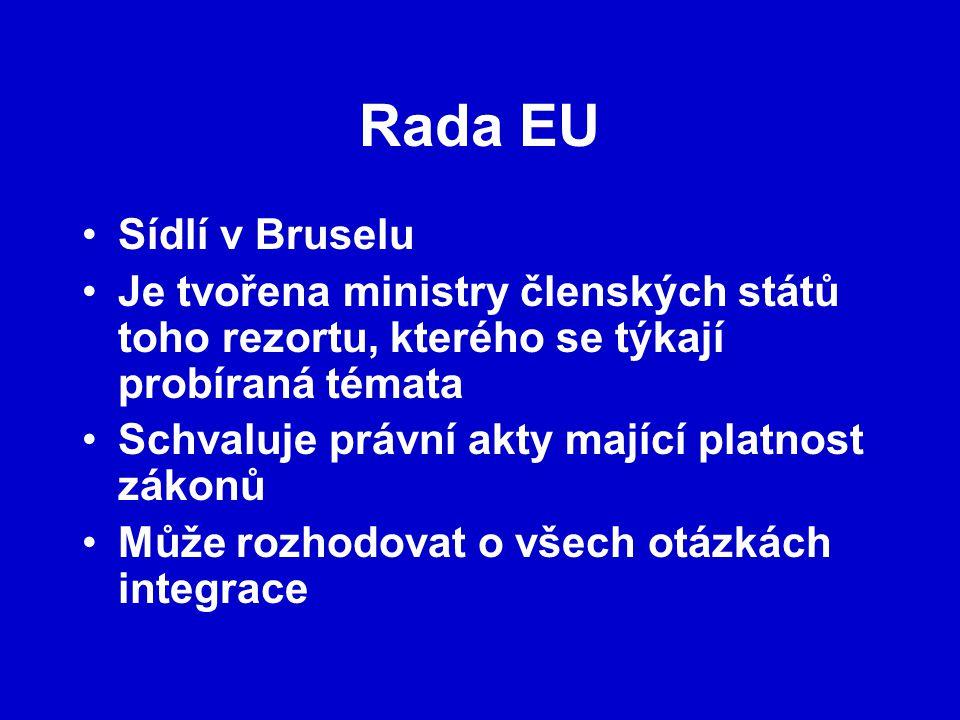 Rada EU Sídlí v Bruselu. Je tvořena ministry členských států toho rezortu, kterého se týkají probíraná témata.