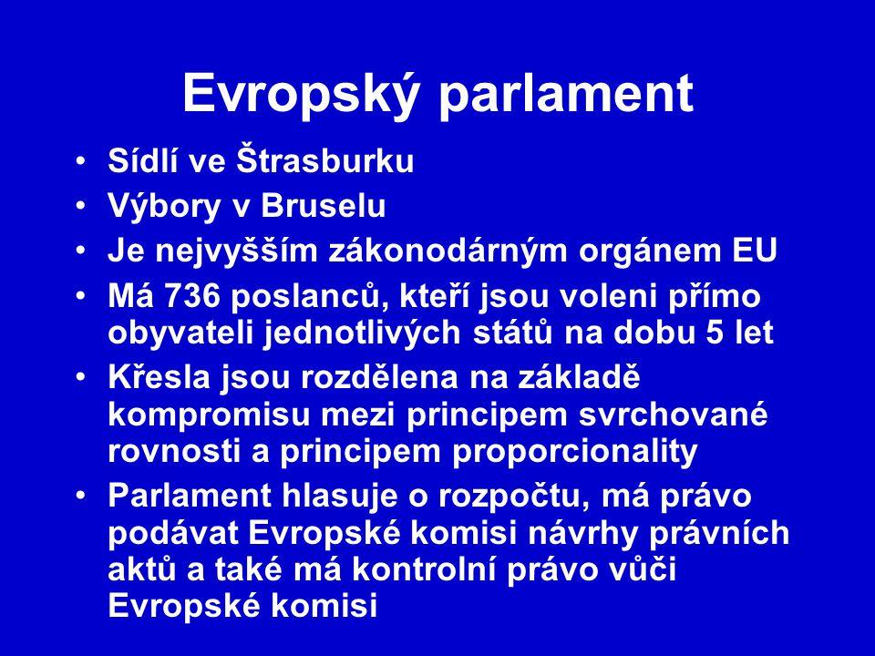 Evropský parlament Sídlí ve Štrasburku Výbory v Bruselu