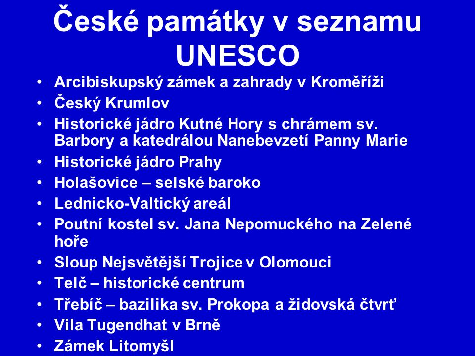 České památky v seznamu UNESCO