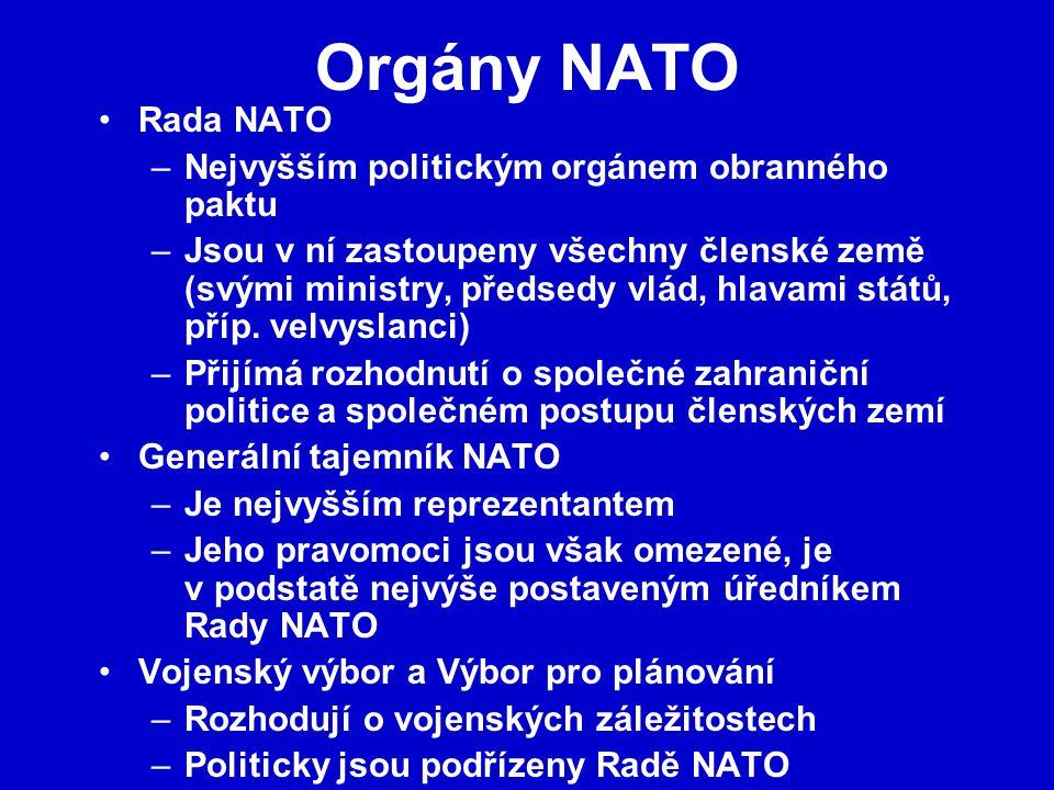 Orgány NATO Rada NATO Nejvyšším politickým orgánem obranného paktu