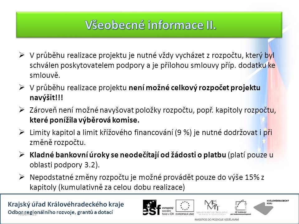 Všeobecné informace II.