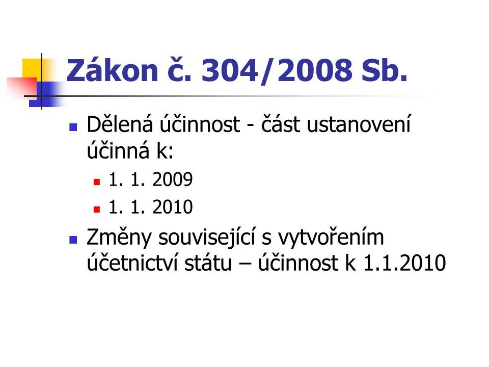Zákon č. 304/2008 Sb. Dělená účinnost - část ustanovení účinná k: