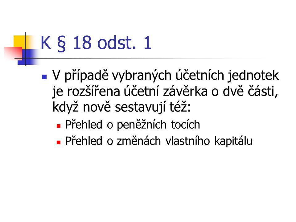 K § 18 odst. 1 V případě vybraných účetních jednotek je rozšířena účetní závěrka o dvě části, když nově sestavují též: