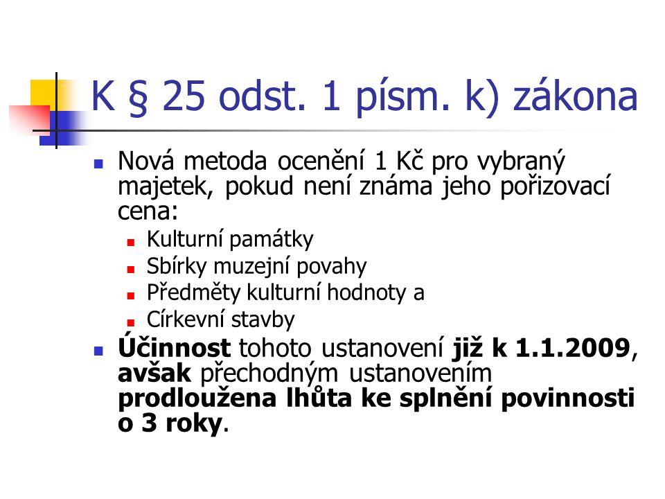 K § 25 odst. 1 písm. k) zákona Nová metoda ocenění 1 Kč pro vybraný majetek, pokud není známa jeho pořizovací cena: