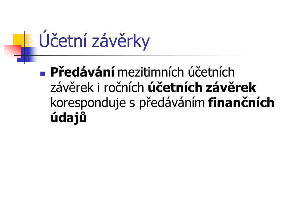 Účetní závěrky Předávání mezitimních účetních závěrek i ročních účetních závěrek koresponduje s předáváním finančních údajů.