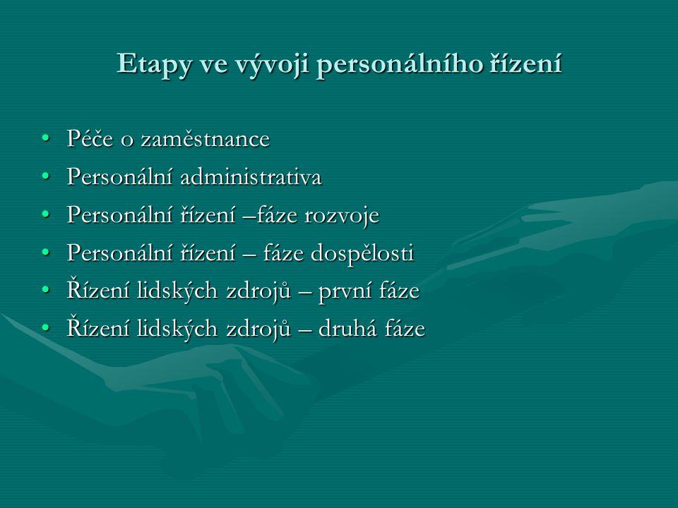 Etapy ve vývoji personálního řízení