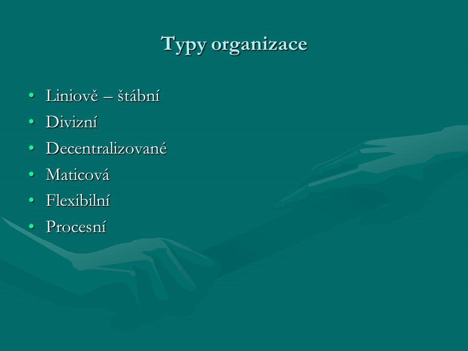 Typy organizace Liniově – štábní Divizní Decentralizované Maticová