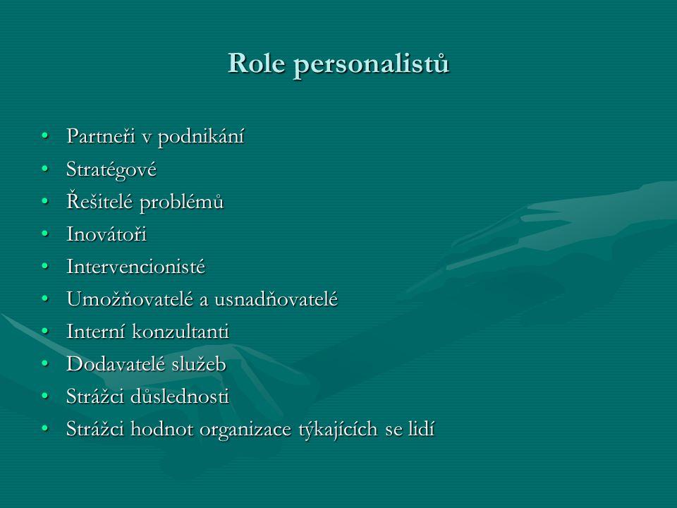 Role personalistů Partneři v podnikání Stratégové Řešitelé problémů