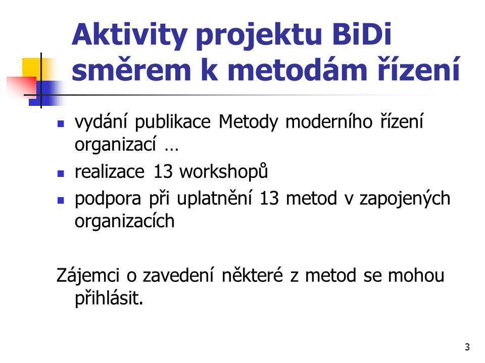Aktivity projektu BiDi směrem k metodám řízení