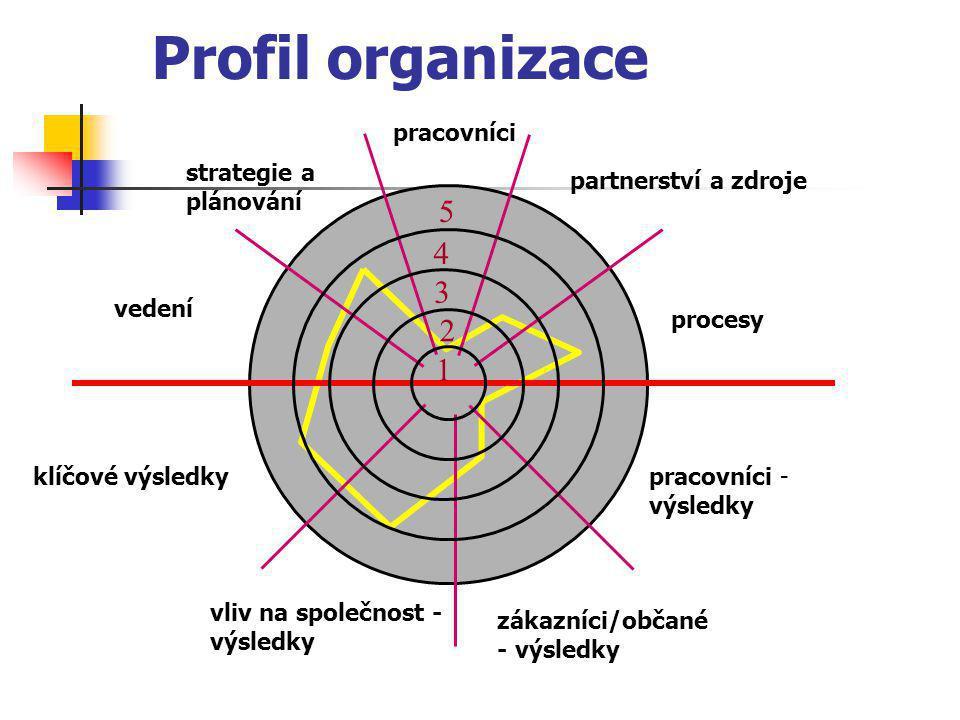 Profil organizace 5 4 3 2 1 pracovníci strategie a plánování