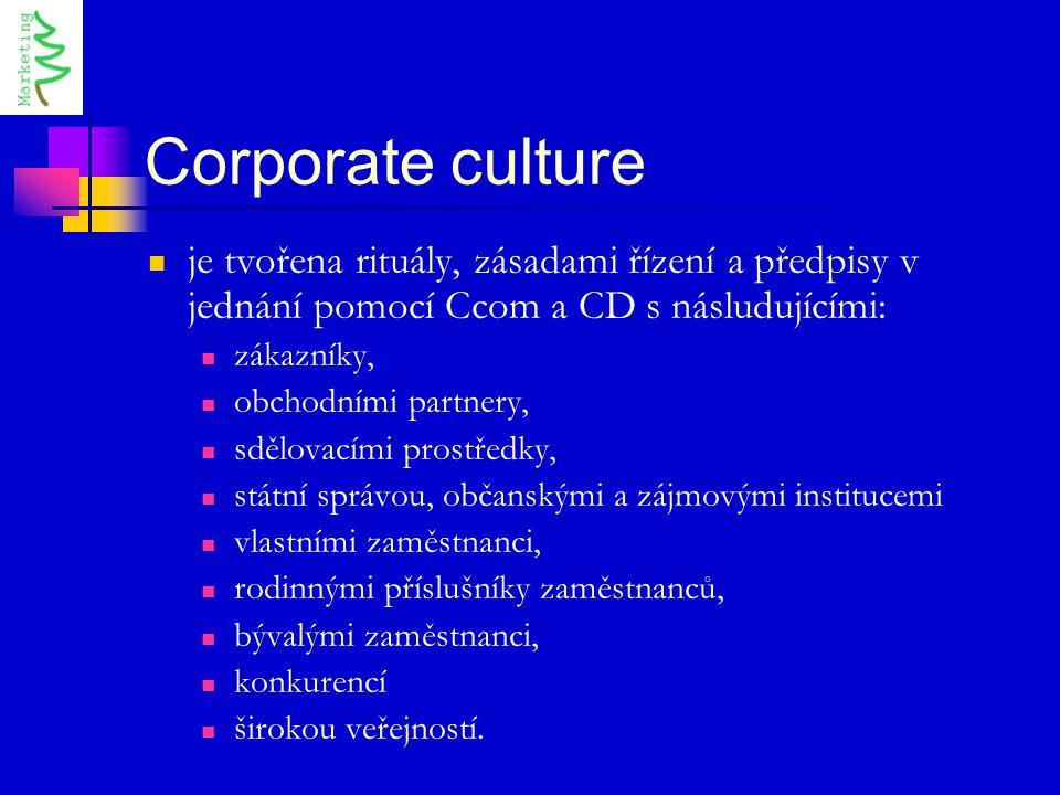 Corporate culture je tvořena rituály, zásadami řízení a předpisy v jednání pomocí Ccom a CD s násludujícími: