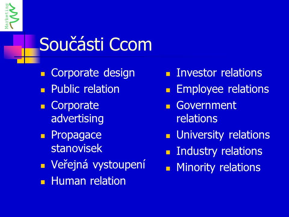 Součásti Ccom Corporate design Public relation Corporate advertising