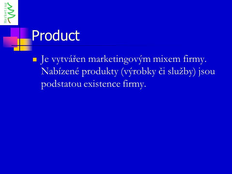 Product Je vytvářen marketingovým mixem firmy.