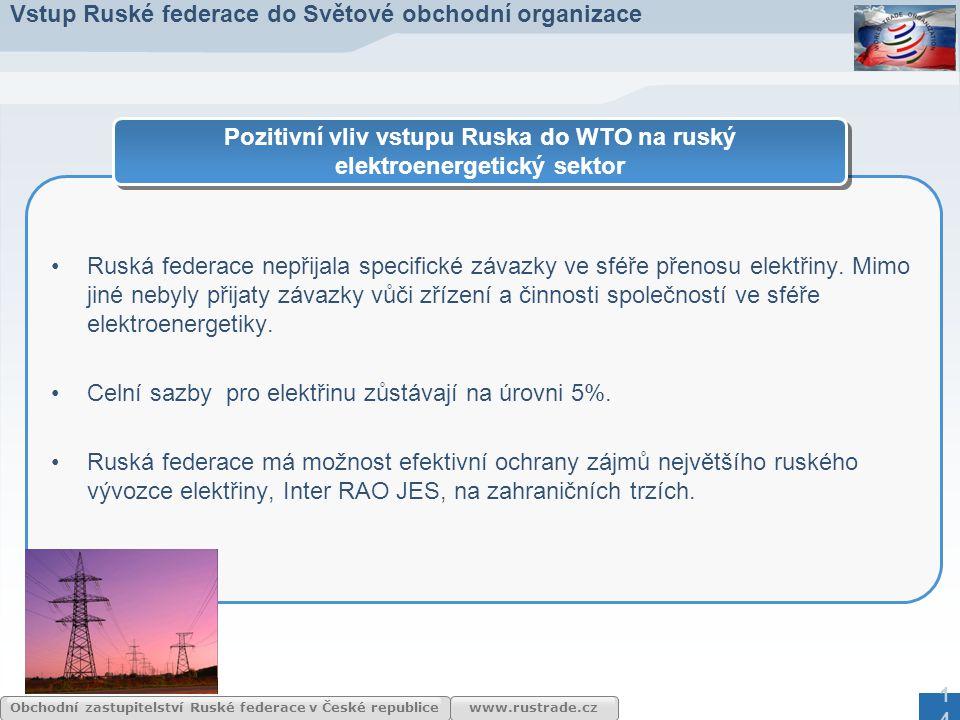 Pozitivní vliv vstupu Ruska do WTO na ruský elektroenergetický sektor
