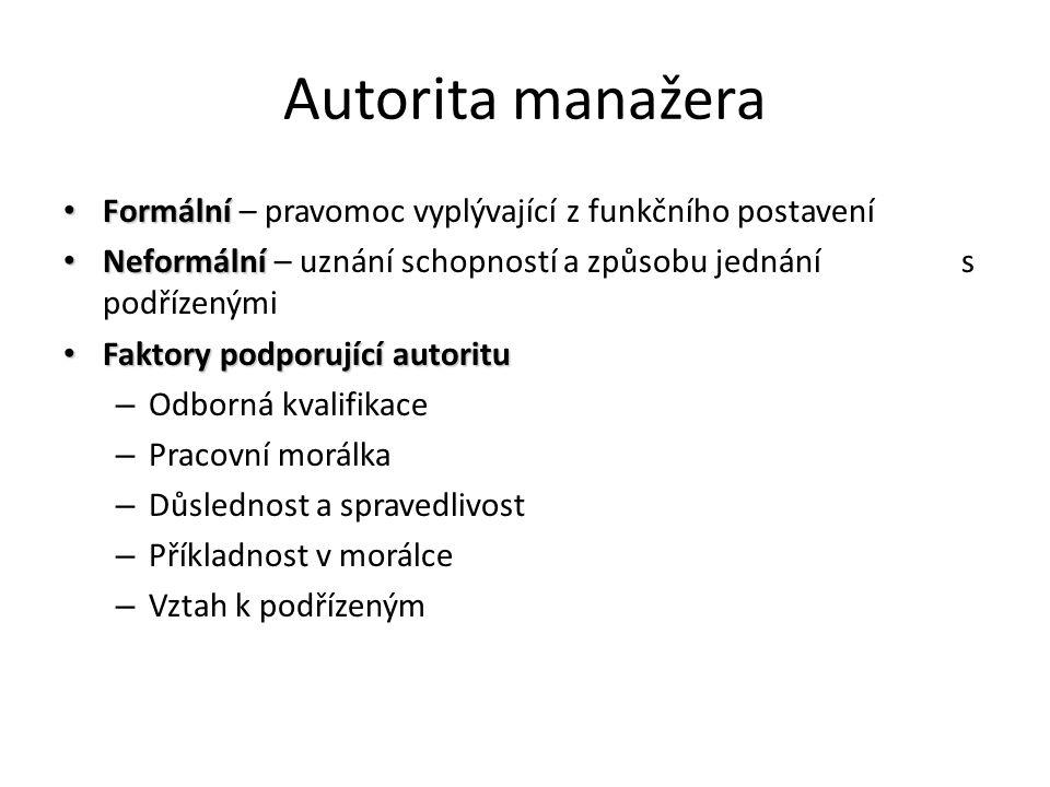 Autorita manažera Formální – pravomoc vyplývající z funkčního postavení.