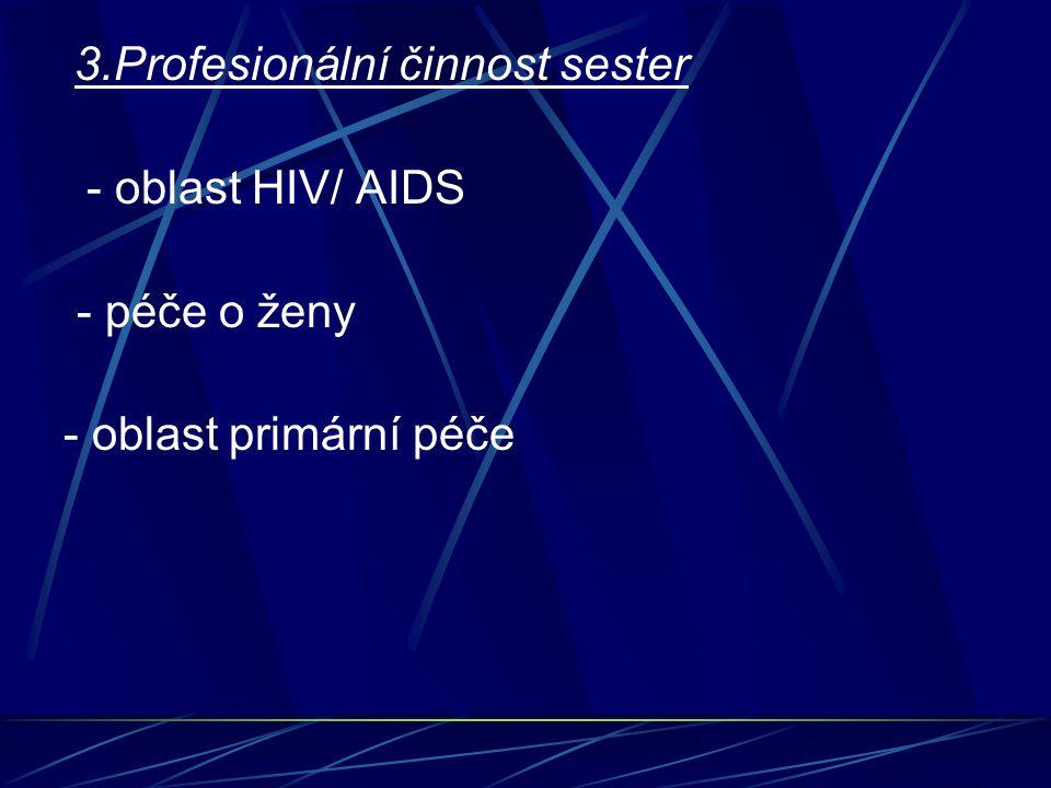 - péče o ženy - oblast primární péče 3.Profesionální činnost sester