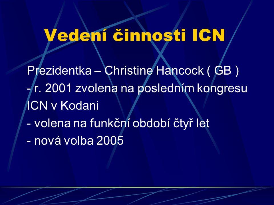 Vedení činnosti ICN Prezidentka – Christine Hancock ( GB )