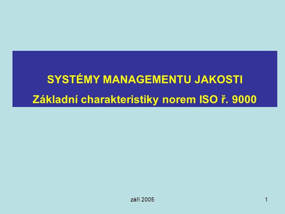 SYSTÉMY MANAGEMENTU JAKOSTI Základní charakteristiky norem ISO ř. 9000