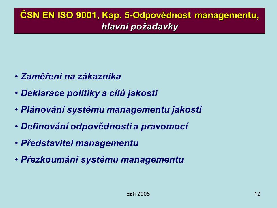 ČSN EN ISO 9001, Kap. 5-Odpovědnost managementu, hlavní požadavky