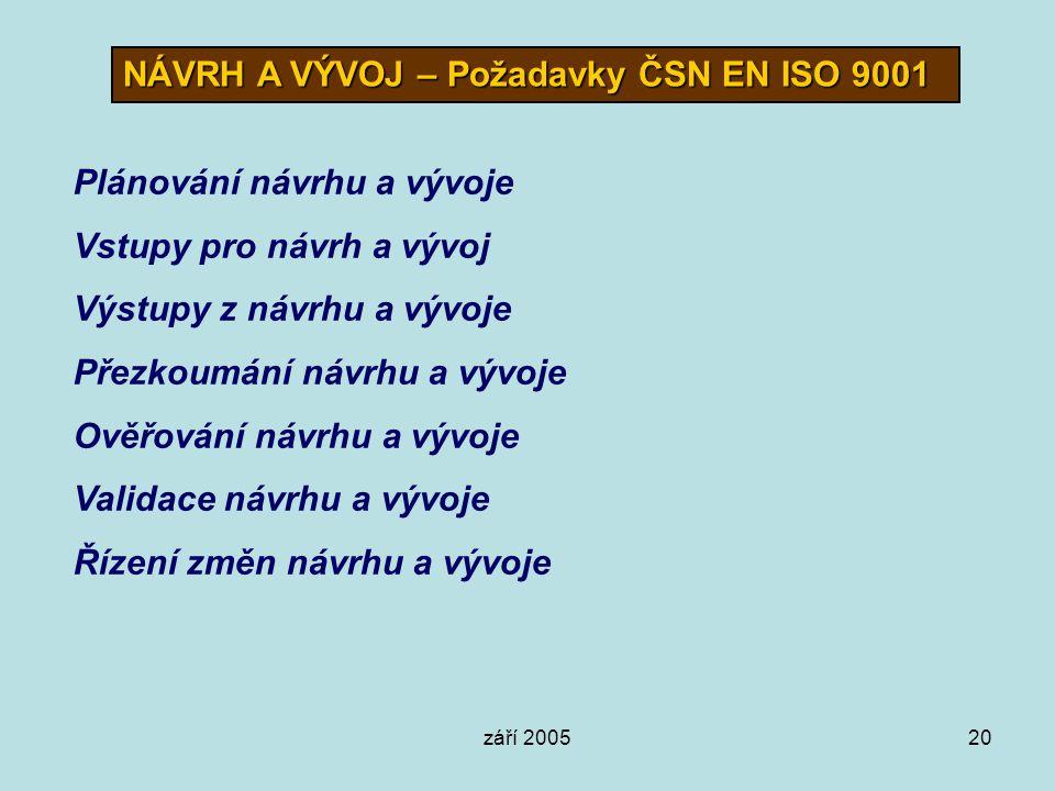 NÁVRH A VÝVOJ – Požadavky ČSN EN ISO 9001
