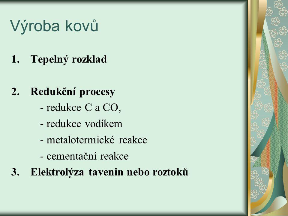 Výroba kovů Tepelný rozklad Redukční procesy - redukce C a CO,