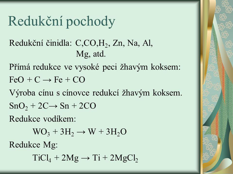 Redukční pochody Redukční činidla: C,CO,H2, Zn, Na, Al, Mg, atd.