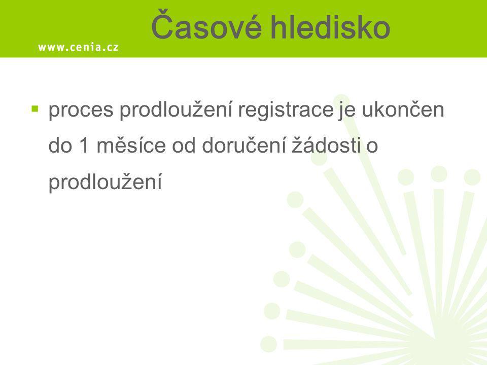 Časové hledisko proces prodloužení registrace je ukončen do 1 měsíce od doručení žádosti o prodloužení.
