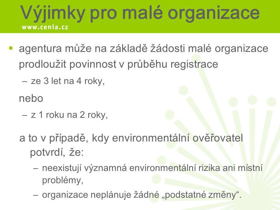 Výjimky pro malé organizace