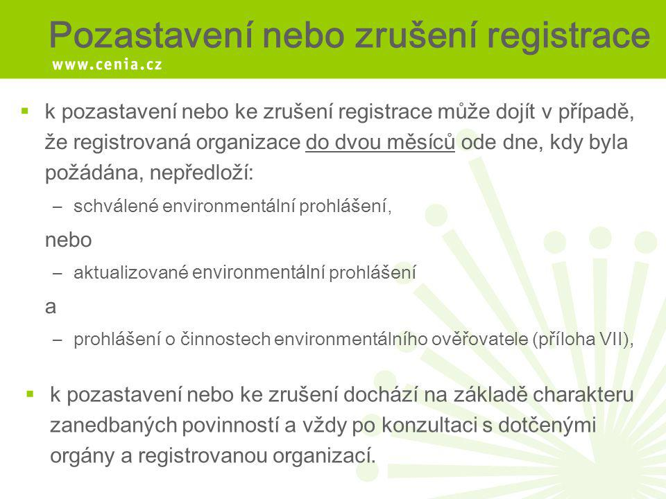 Pozastavení nebo zrušení registrace