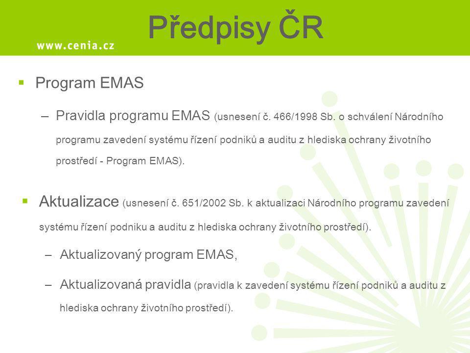 Předpisy ČR Program EMAS