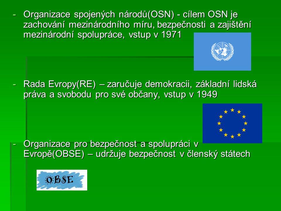 Organizace spojených národů(OSN) - cílem OSN je zachování mezinárodního míru, bezpečnosti a zajištění mezinárodní spolupráce, vstup v 1971